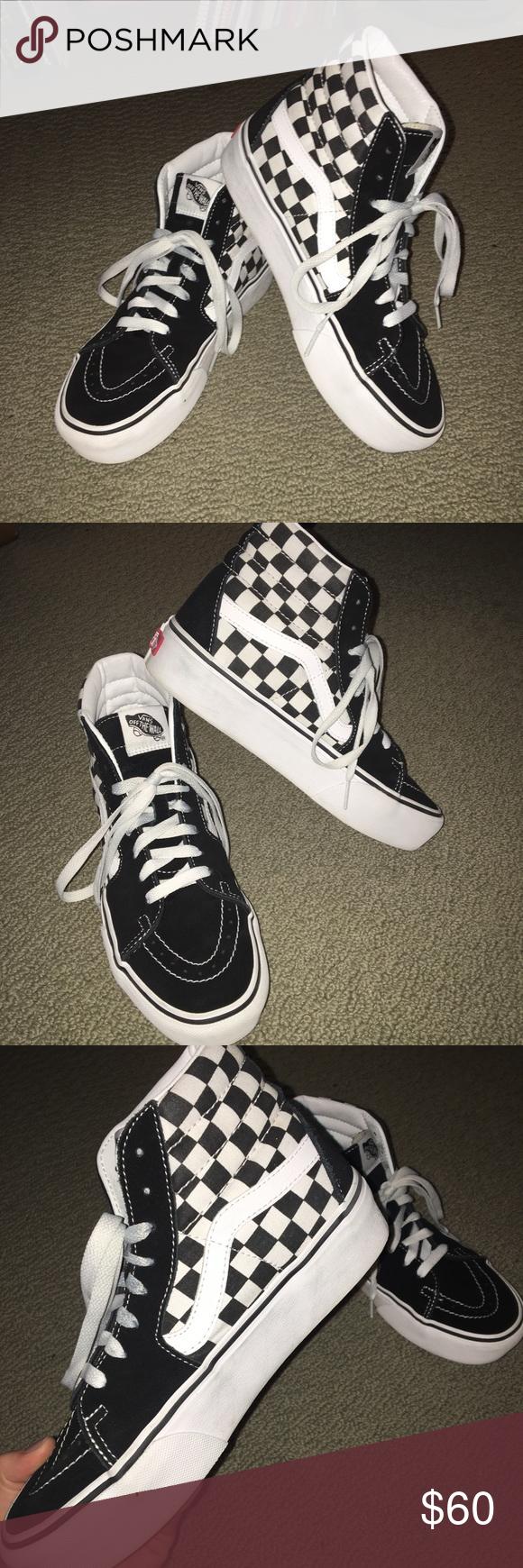 e20c083e3e6 Vans Shoes | Womens Sk8-Hi Platform Checkered True White Vans ...