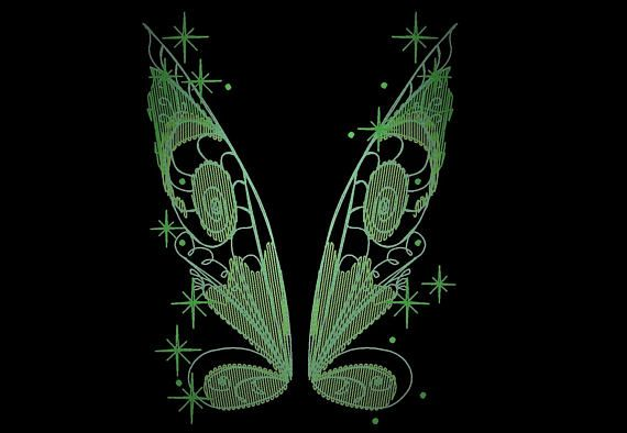 Little Fairy Wings Glow In The Dark Special Designed Machine Embroidery Sizes 4x4 And 5x7 File Glow In The Dark The Darkest Machine Embroidery