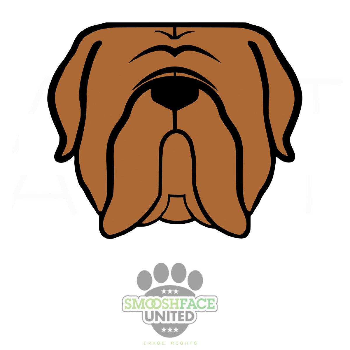 Stickers Bordeaux Mastiff Dog Face In Gray Brown Or Polka Dots Car Decal