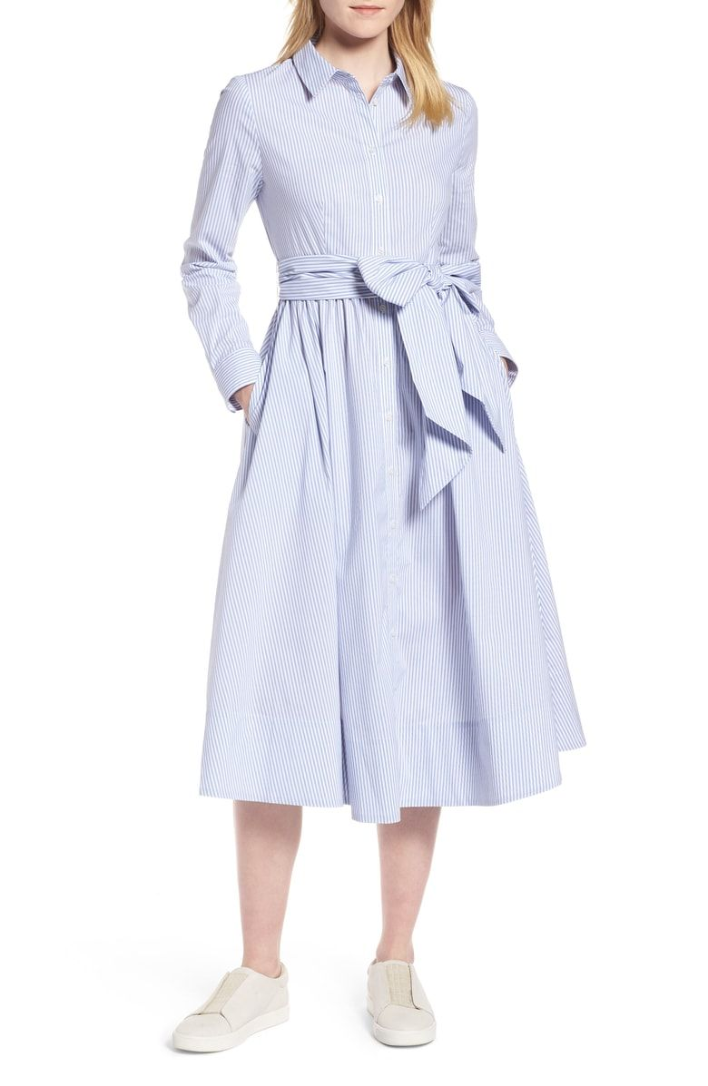 0bff33100d4 Free shipping and returns on 1901 Stripe Midi Shirtdress (Regular   Petite)  at Nordstrom.com. A retro ladylike style with a waist-whittling tie belt  defines ...