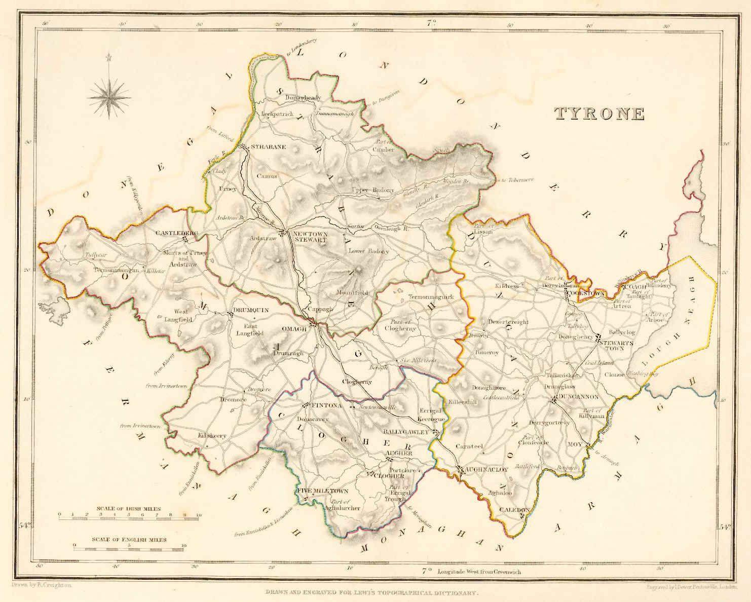 1837 Map Of County Tyrone Northern Ireland Tyrone Irish Vacation Tyrone Ireland