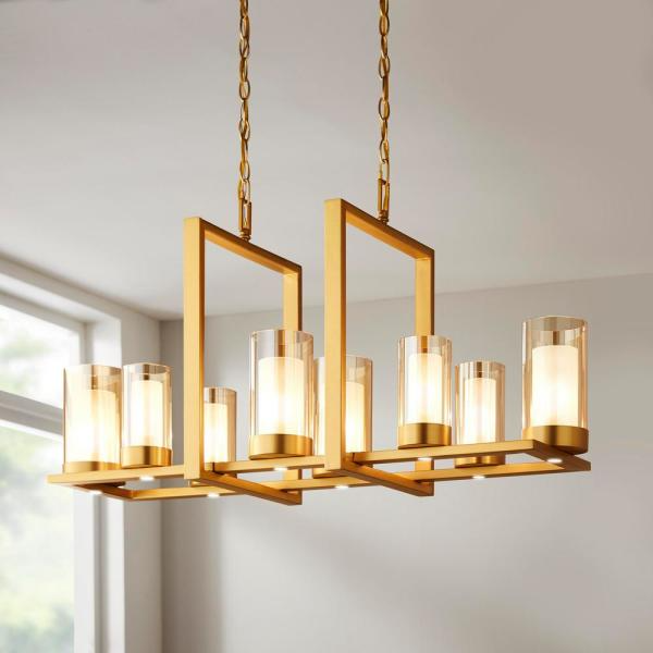 Home Decorators Collection Samantha 60 Watt 8 Light Led Brass Chandelier With Clear And Frosted Shades 34835 Hbb The Home Depot Gold Chandeliers Dining Room Dining Light Fixtures Brass Chandelier Dining