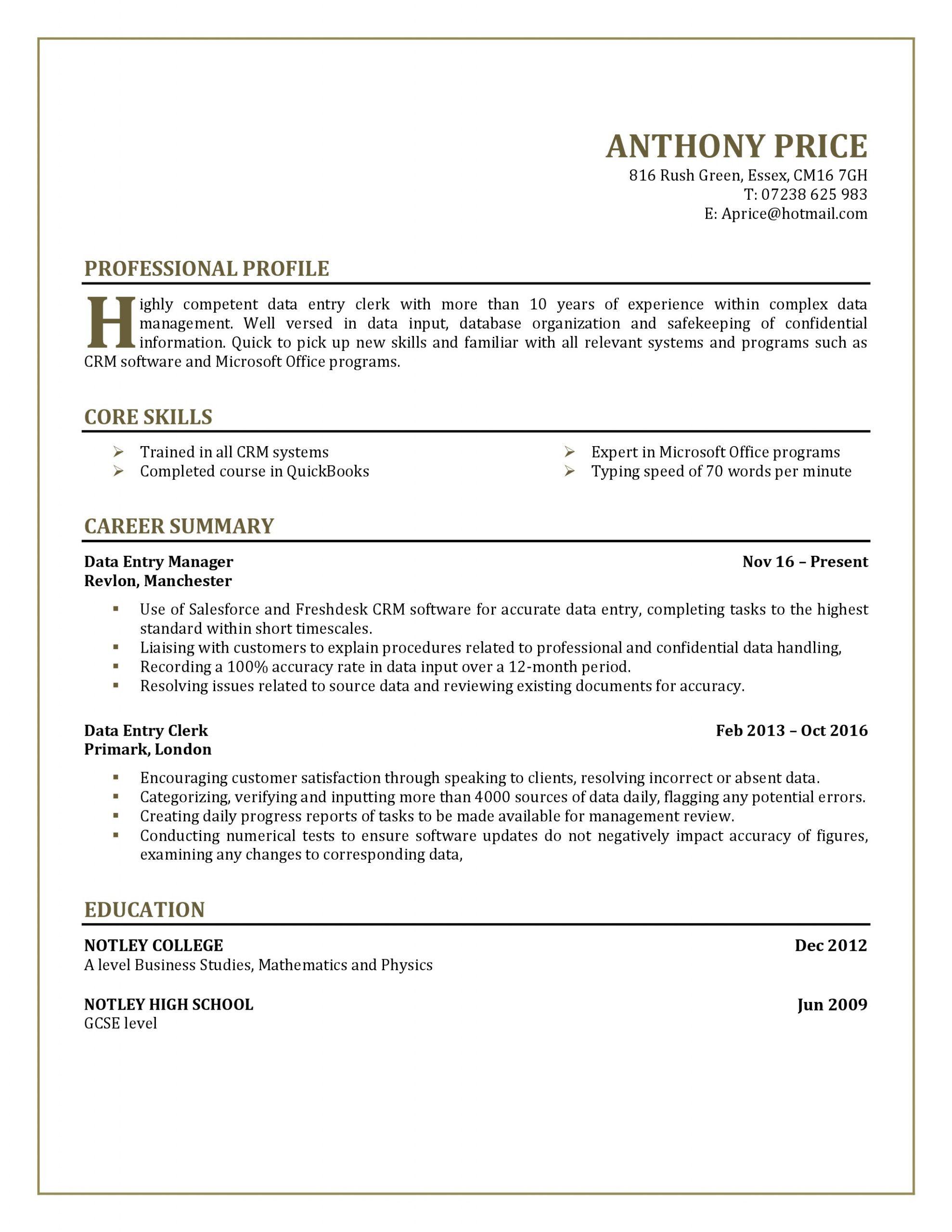 10 Very Primary Resume