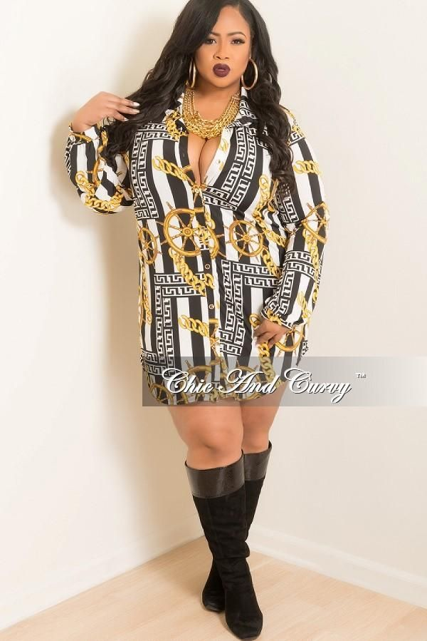Plus Size Shirt Dress With Tie In Gold Black White Chain Print