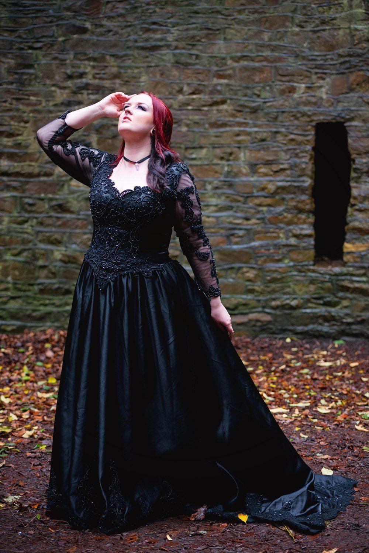 Black gothic wedding dress shoot Sheffield Botanical