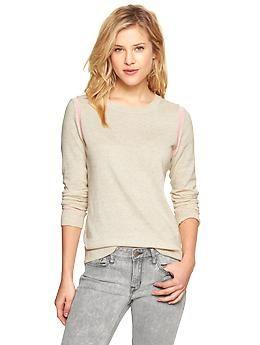 Contrast-trim heathered sweater