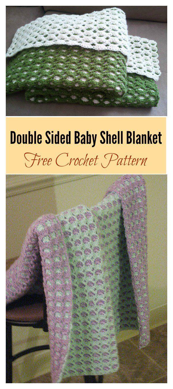 Double Sided Baby Shell Blanket Free Crochet Pattern   Вязание ...