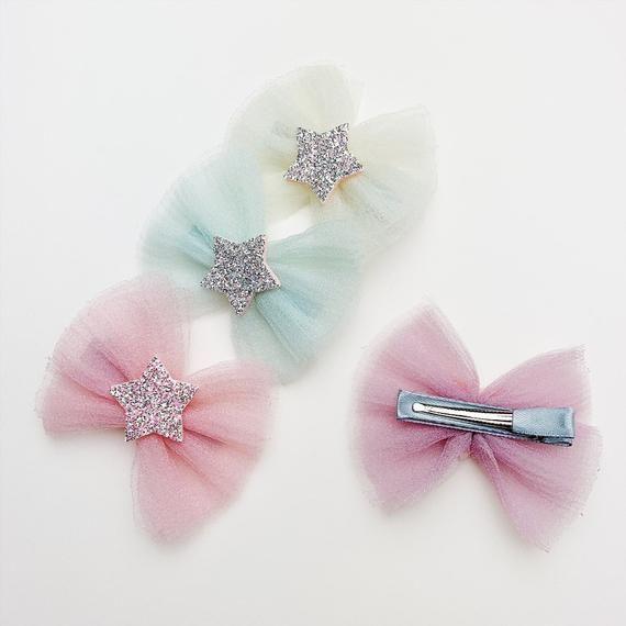 Tulle Layered Glitter Star Bow Alligator Hair Clip | Etsy
