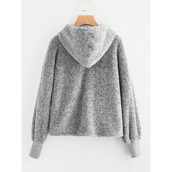 SheIn(sheinside) Faux Fur Fluffy Hoodie ($17) ❤ liked on Polyvore ...