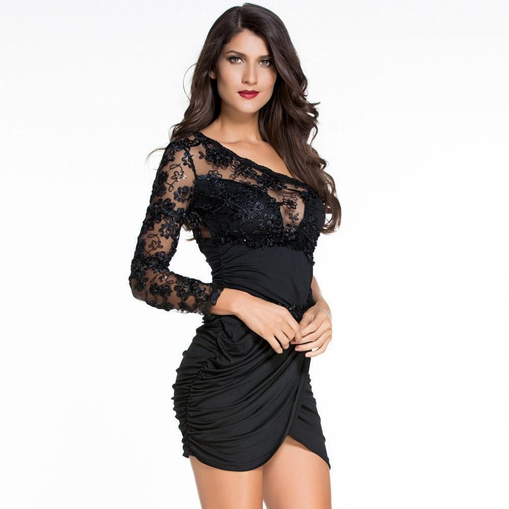 897e46411a D22465 Sexy Lace Bodice One Sleeve Party Dress