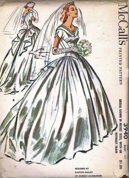1950s BEAUTIFUL WEDDING GOWN BRIDAL DRESS PATTERN DESIGNER GALSTON ...