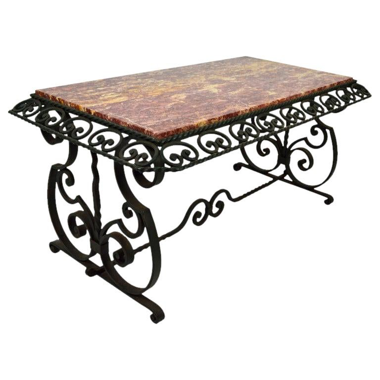French Wrought Iron Art Deco Coffee Table With Marble Top In 2020 Marble Top Coffee Table Wrought Iron Dining Table Art Deco Coffee Table