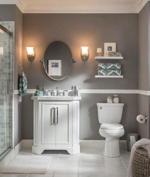 Oval Mirror Sconces Floating Shelves Chair Rail Small Bathroom Colors Gray Bathroom Decor Bathroom Colors