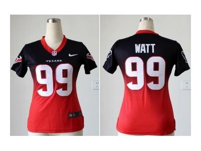 brand new a613c f9e80 Cheap Womens NFL Jersey Texans 99 Watt Blue Red Elite II ...