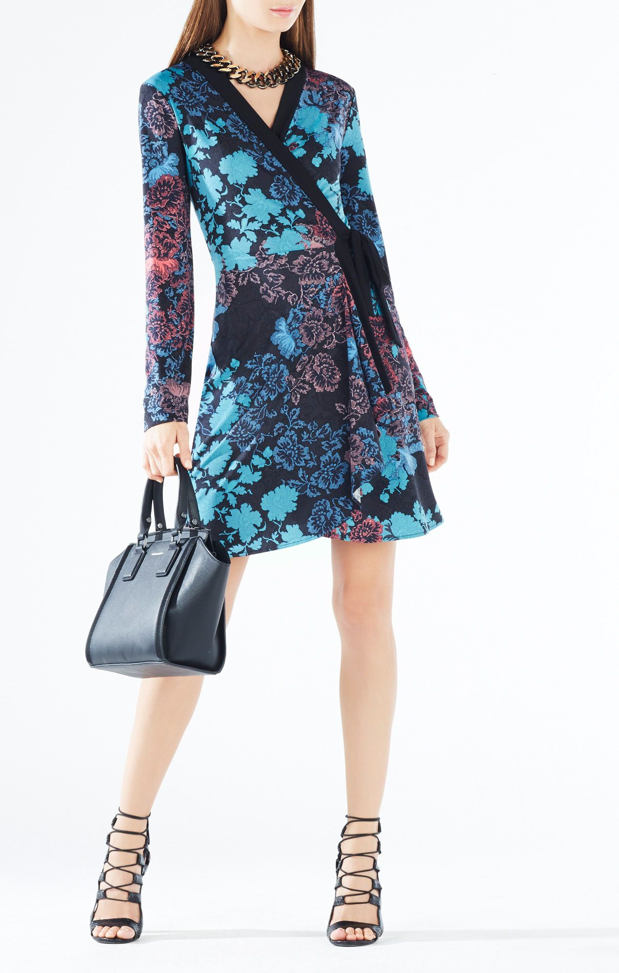 Adele Floral Lace Print Wrap Dress