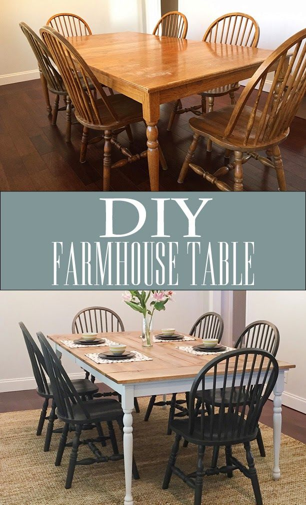 DIY Farmhouse Table White And Oak With Black Chairs