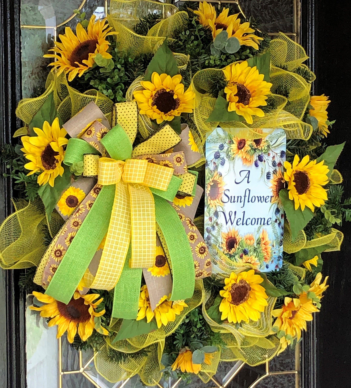 Photo of Sunflower wreath, evergreen sunflower wreath, pine sunflower wreath, a sunflower welcome wreath, summer wreath