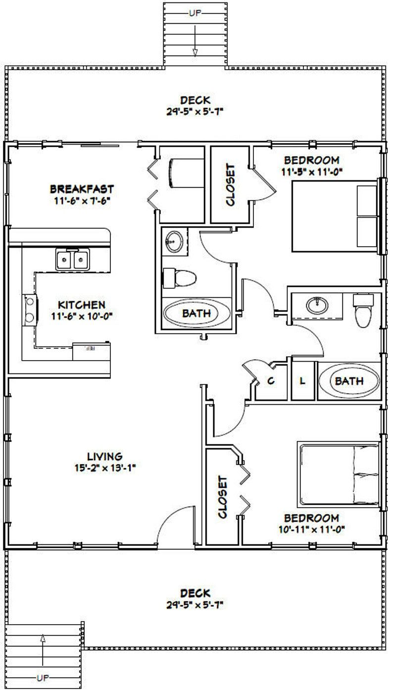 30x32 House 2 Bedroom 2 Bath 960 Sq Ft Pdf Floor Plan Instant Download Model 4a In 2020 Small House Floor Plans Floor Plans How To Plan