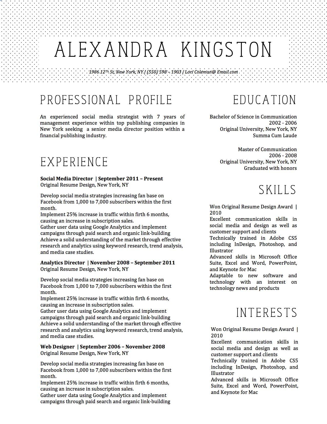 Alexandra Pineapple Resume Template  Alexandra Kingston Resume