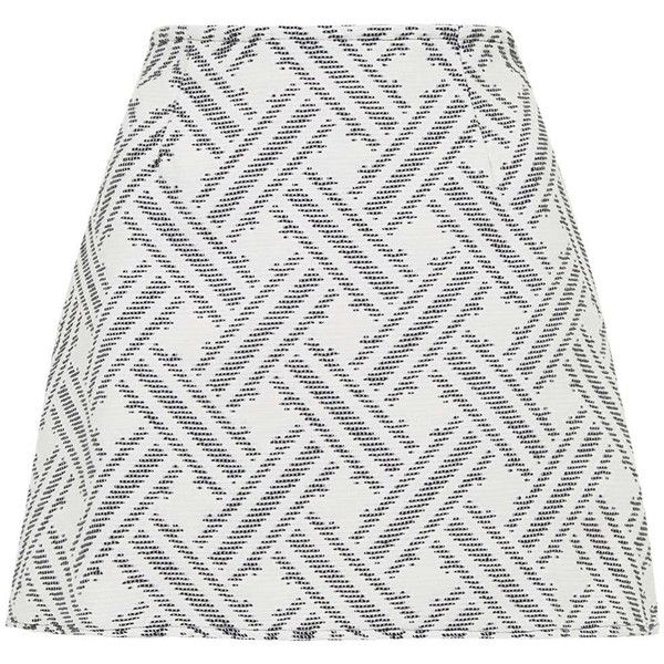 **Jacquard Annie Skirt by Motel (505 ZAR) ❤ liked on Polyvore featuring skirts, mini skirts, white, white skirt, mini skirt, a line skirt, zipper mini skirt and geometric skirt