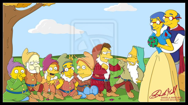 Snow White And The Seven Dwarf By Dalilagfx On Deviantart Simpsons Drawings The Simpsons Movie The Simpsons