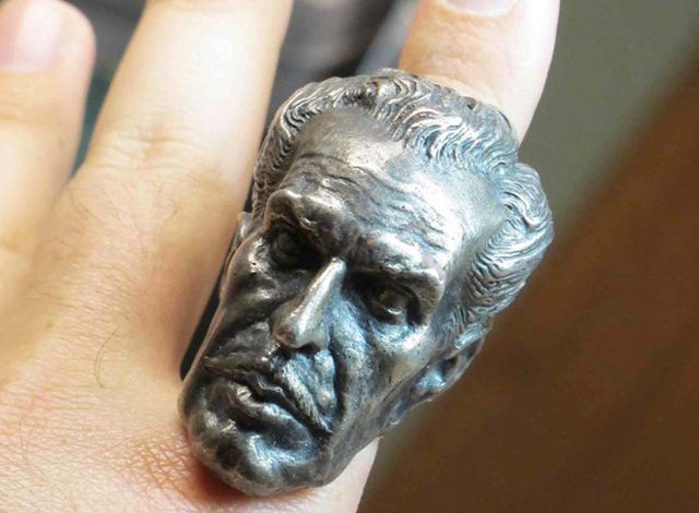 A Huge Silver Ring That Features Vincent Price's Head