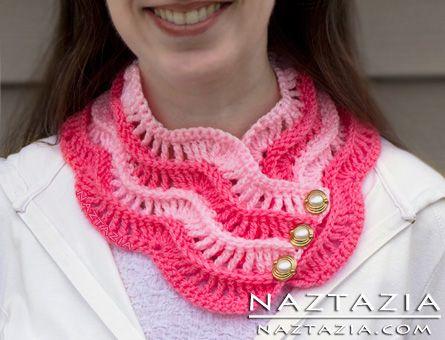 Crochet Ripple Cowl Wave Wavy Wavey Scarf Scarflette Neck Warmer ...