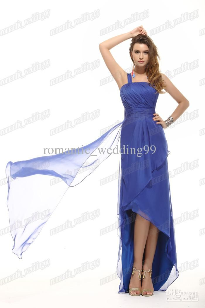 37b0cd9dfba1 Charming Royal Blue Front Short Back Long Chiffon One Shoulder Evening Prom Dresses  Bridesmaid Gowns