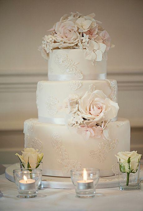 White Wedding Cake With Blue Filigree