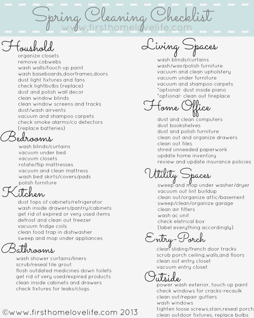 #Spring Cleaning Printable Checklist via www.firsthomelovelife.com