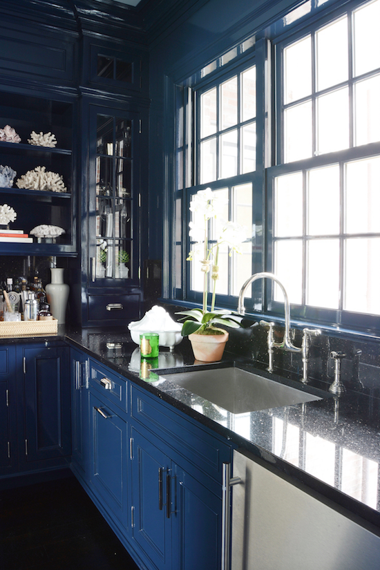 high gloss blue - a dramatic butler's pantry, kitchen or wet bar