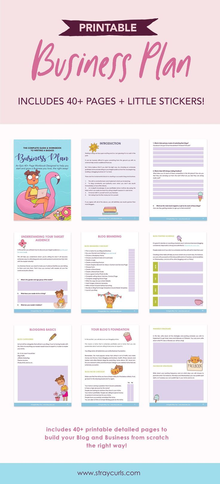 Business Plan Guide + Workbook by Stray Curls Business