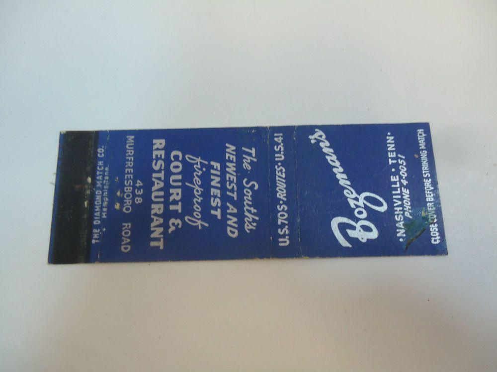 Vintage Matchbook Cover Bozeman's Court & Restaurant Murfreesboro Nashville TN