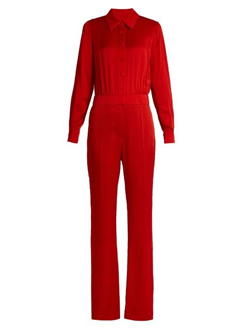SONIA RYKIEL Point-Collar Long-Sleeved Cady Jumpsuit. #soniarykiel #cloth #jumpsuit