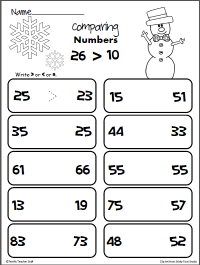 comparing two digit numbers winter worksheet math for kids comparing numbers worksheet. Black Bedroom Furniture Sets. Home Design Ideas
