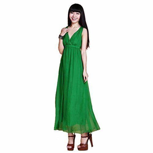 Mosunx(TM) Women Fashion Chiffon Long Dress Bohemian V Neck Sexy Sundresses (Green) Mosunx http://www.amazon.com/dp/B00SIDIJ2W/ref=cm_sw_r_pi_dp_80clvb0SB35TP