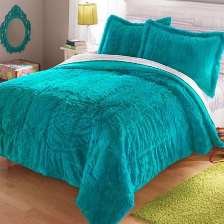 your zone long fur bedding comforter set | comforter and room