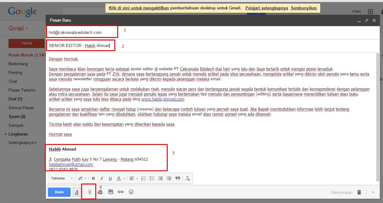 Contoh Surat Lamaran Kerja Online Bahasa Indonesia ben