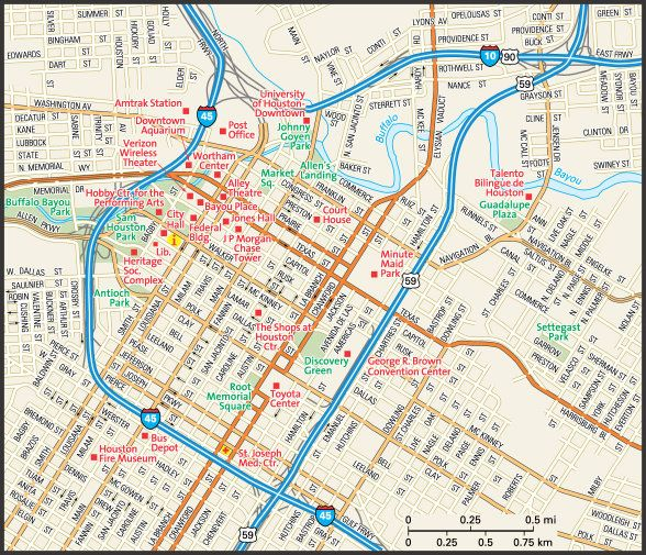 HoustonTX Map Houston Pinterest - Printable map of houston