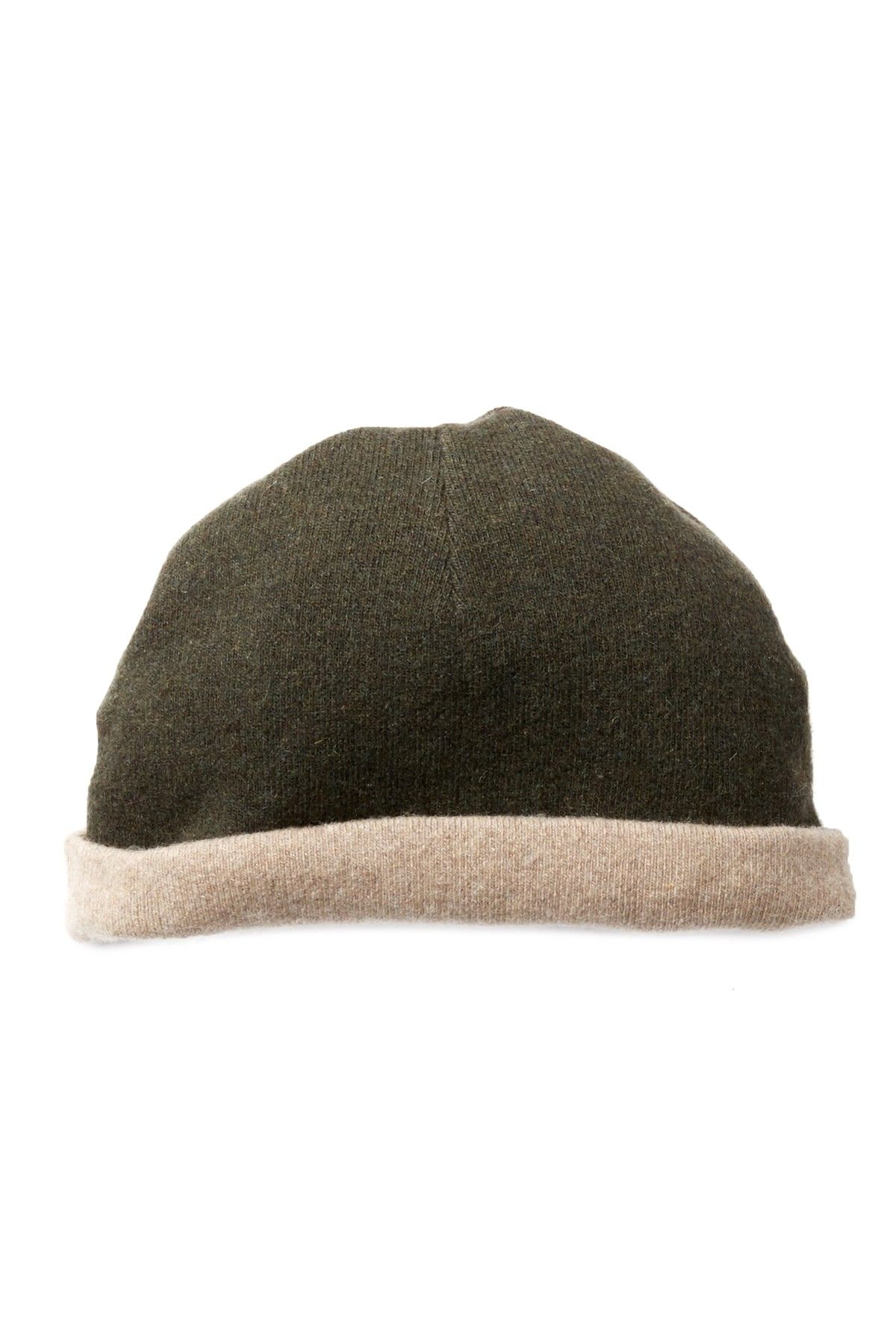 Nile Brown   Green Reversible Cashmere Beanie 98c7ea38a3b1