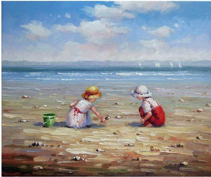 Image result for kids seashore painting