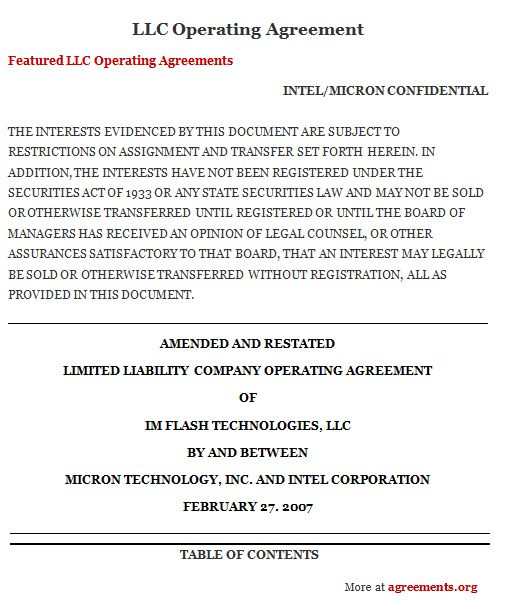 LLC Operating Agreement, Sample LLC Operating Agreement Template - letter of intent partnership