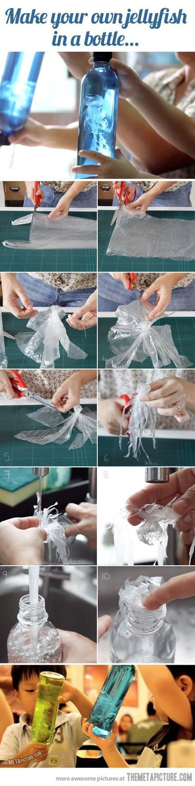 Jelly Fish in a Bottle Project | Cool and Simple Craft Projects for Kids by DIY Ready at www.diyready.com/diy-kids-crafts-you-can-make-in-under-an-hour/