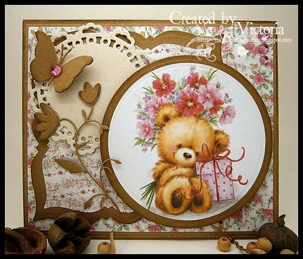 Vixx Handmade Cards: WILD ROSE STUDIO DT POST ~ TEDDY WITH PRESENT.....