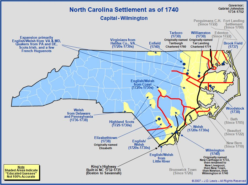 The Royal Colony Of North Carolina The Towns And Settlements In
