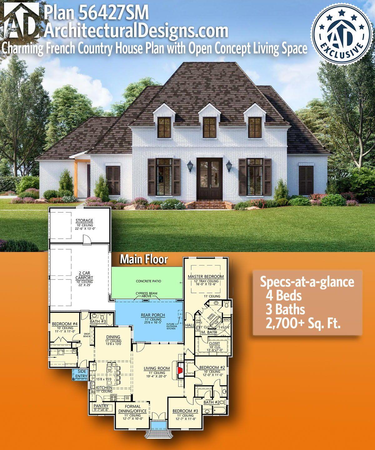 Plan 62636dj Modern Garage Plan With 3 Bays In 2021 French Country House Plans French Country House French House Plans