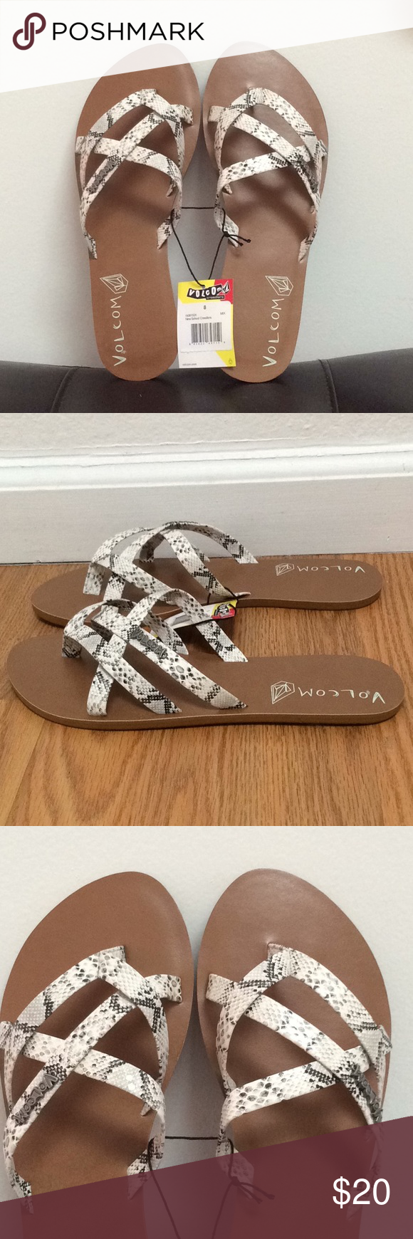 116156e139cb Volcom New School Creedler sandal. Off-white black snake print. Size 8.  Great for pool or beach. Volcom Shoes Sandals