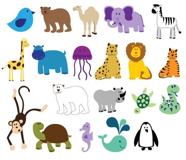 Colorful Vector Animals Cute Animal Clipart Cartoon Zoo Animals Animal Clipart