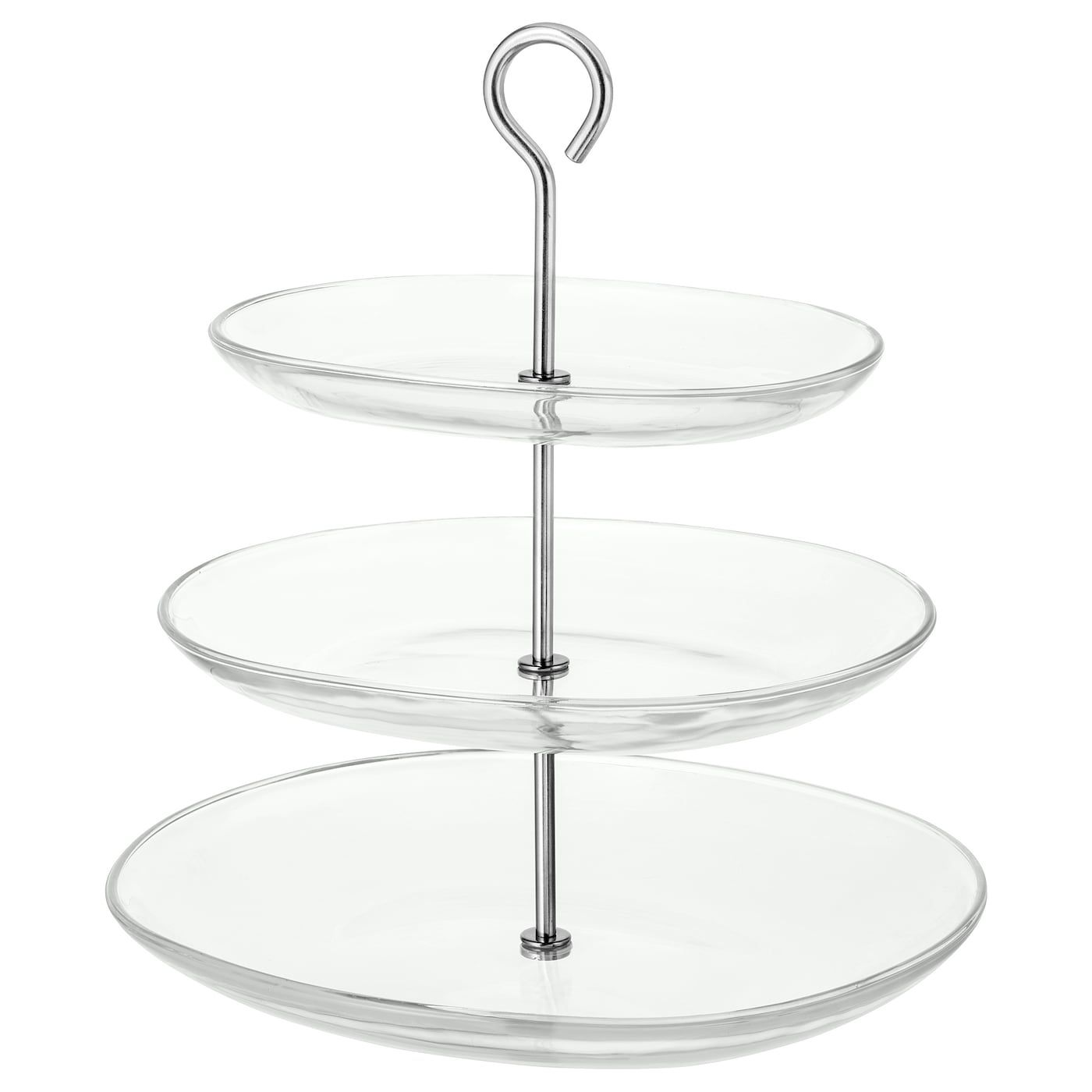 Kvittera Serving Stand 3 Tiers Clear Glass Stainless Steel In 2020 Clear Glass Cake Stand With Lid Plates