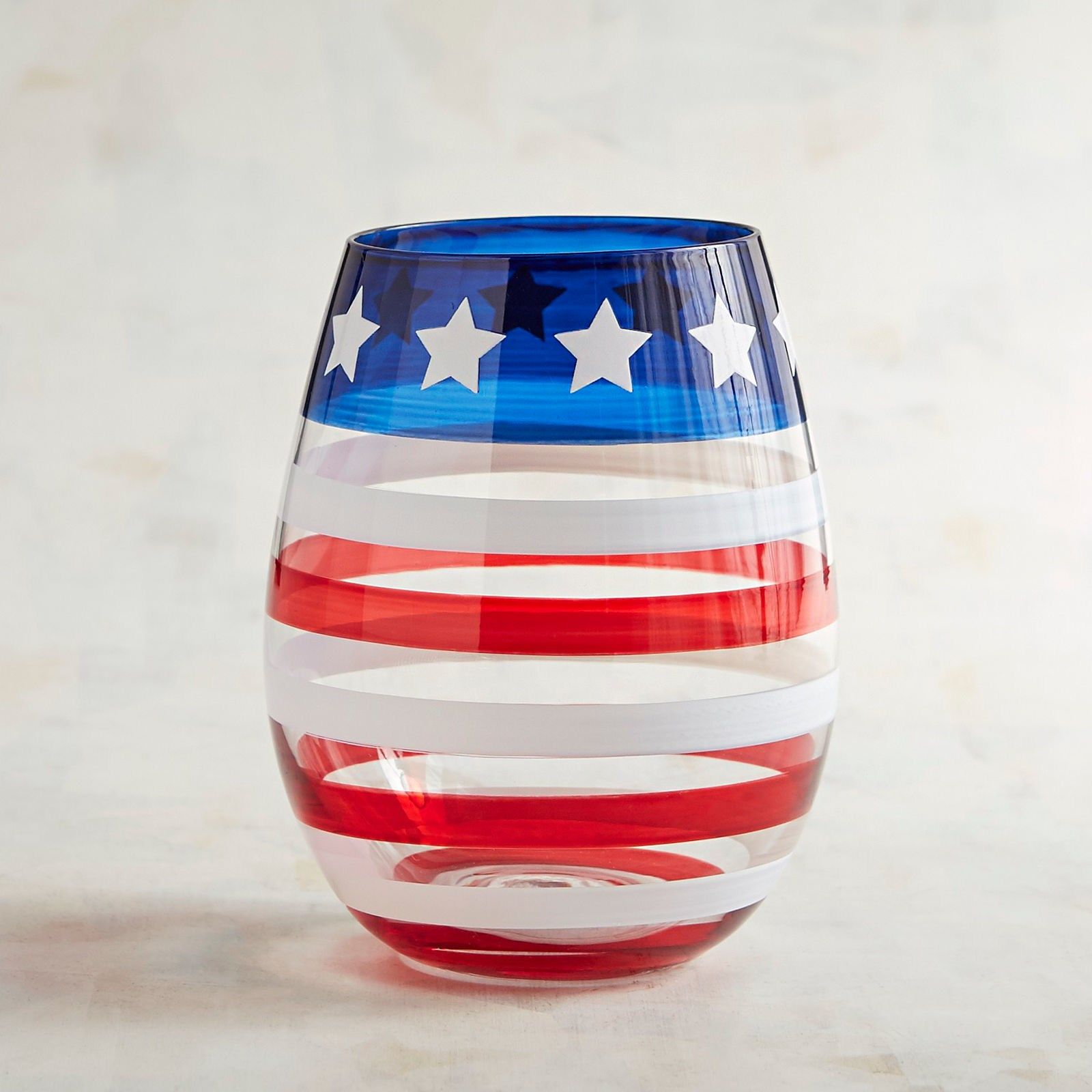 Red White And Blue Stemless Wine Glass Perfect For Your Memorial Day Or 4th Of July Festivities Stemless Wine Glasses Diy Unique Wine Glasses Diy Wine Glasses